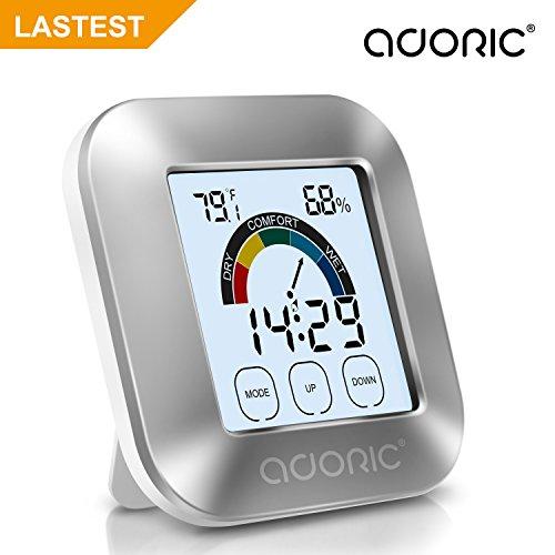 ADORIC Thermo-Hygromètre Electronique Intérieur - Thermomètre Hygromètre Numérique avec LED Rétro-éclairage Mémoire Max/Min Température Humidité, Deux Piles Inclus, Station Métro
