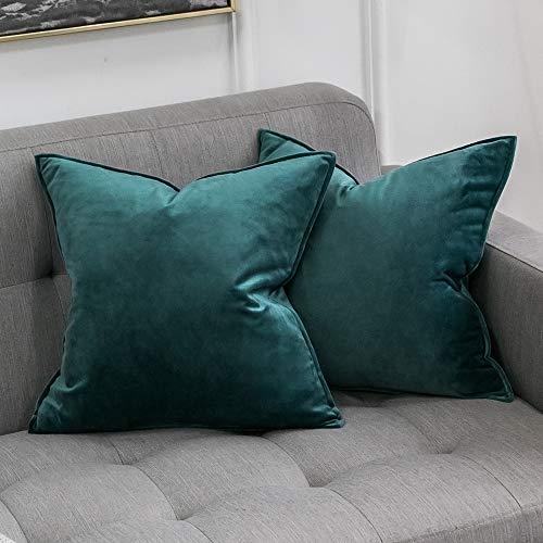 MIULEE 2er Set Samt Kissenbezug Kissenhülle Dekorative Dekokissen mit Verstecktem Reißverschluss Sofa Schlafzimmer Auto 18x 18 Inch 45 x 45 cm 2er Set Malachitgrün