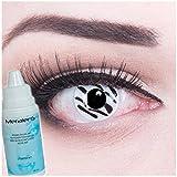Farbige Kontaktlinsen Zebra in weiss schwarz + 60ml Pflegemittel + Behälter - Funnylens Markenqualität, 1Paar (2 Stück) farbige lenses perfekt zu Halloween, Karneval, Fasching oder Fastnacht