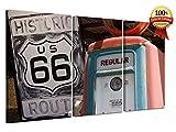 Moderne Gemälde auf Leinwand cm 40x75 (Dim Panels cm 25x40-25x40-25x40) - Moderne Gemälde Wohnzimmer xxl - Schlafzimmer - Modernes Wohnzimmer - Küche - Zusammenfassung - Meer - Landschaften - Sonnenuntergänge - Blumen - Blumen - Presse für Restaurants - Hotels - Büros - Wohnzimmer - kleiner Raum - Panels von Holzmöbel mit einem modernen und kompletten Design für jede Umgebung. ROUTE 66