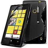 (Schwarz) Nokia Lumia 520 / 525 Schutzhülle S-line Hydro Wave Gel Skin Case Hülle Cover, Aus- und einfahrbarem Touchscreen Stylus Pen & LCD Screen Protector Guard von Spyrox