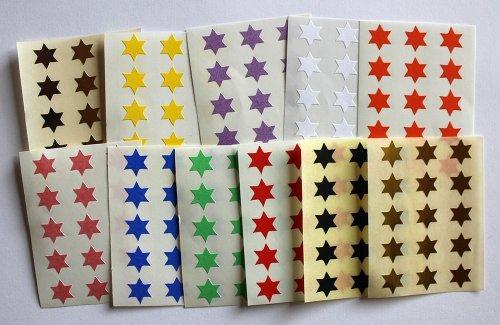 Variado colores. 165 Etiquetas, 10mm Forma De Estrella, Pegatinas Autoadhesivas, Minilabel Formas