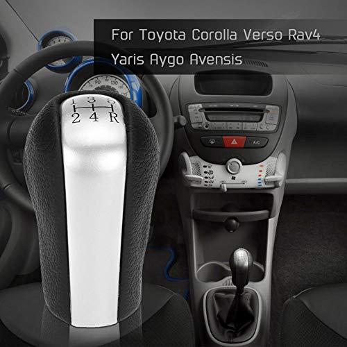YSHtanj Schaltknauf für Autos, Innenraumteile, Schaltknauf, 5 Gänge, Ersatz für Toyota Corolla Verso RAV4, Schwarz + Silber -
