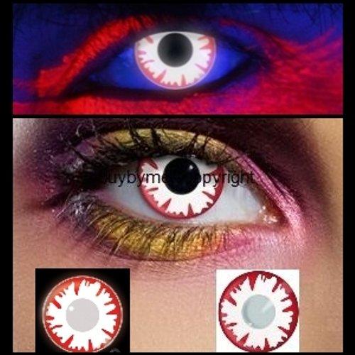 83014 Paar Kontaktlinsen UV leuchtend linsen farbig rot weiß dämon schwarzlicht halloween kostüme neu