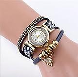 Wge Addendum Moda Mujer Tejido Color con pulsera elefante colgante reloj de pulsera