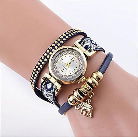 wge addendum mode femme Texture couleur avec bracelet éléphant pendentif montre de poignet