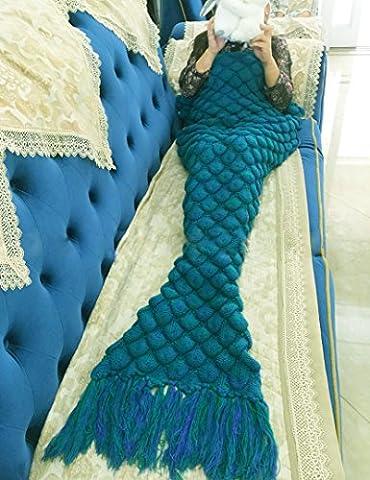 Couverture pour adulte en forme de queue de sirène tricotée