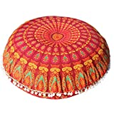 Btruely Bodenkissen Groß Mandala Stock Kissen Runden Bohemien Meditation Cushion Cover Ottomane Puff (A)