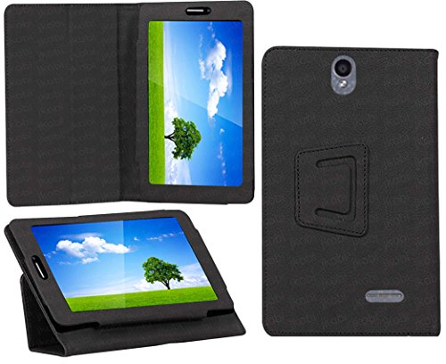 Jkobi Synthetic Leather Tablet Book Front & Back Protection Flip Case Cover For iBall Slide 6351-Q40 -Polish Black  available at amazon for Rs.195