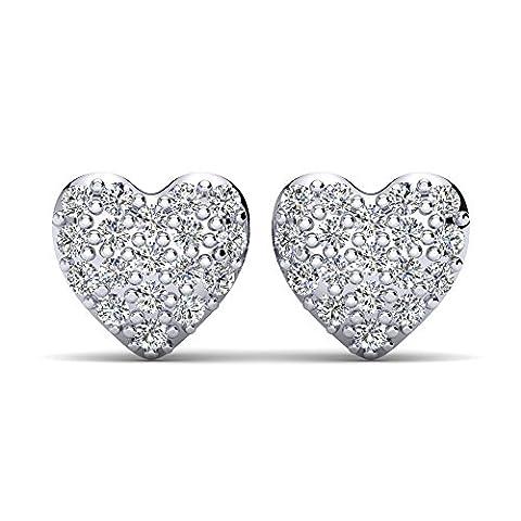 Moncoeur Herzchen Ohrringe Silber Pailetté aus 100% echtem 925er Sterling