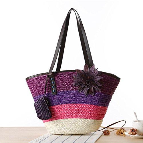 Strandtasche Für Sommer Große Blume Stroh Tasche Handgemachte Gewebte Umhängetaschen Damen Shopping Travel Tote Bag L159 Purple