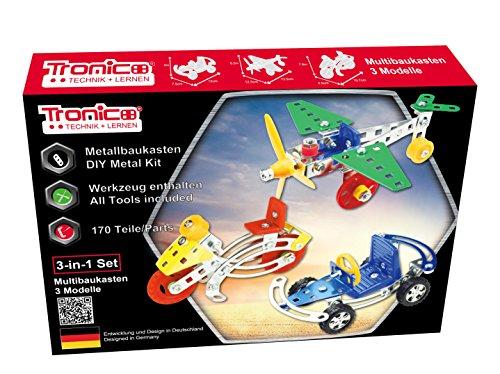 Metallbaukasten Bausatz 3 Modelle / 3-in-1 / Flugzeuge Auto Motorrad 170 Bunte Teile 4-farbige Aufbauanleitung mit Werkzeug Kinder ab 6 Jahren Starter Set Multibaukasten Multi-Model Tronico (1 6 Motorrad)