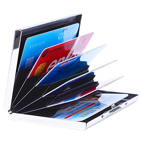 Kinzd Ultradünne Kreditkarten-Aufbewahrung aus Aluminium für Herren und Damen, RFID-blockierend, idealer Schutz für Kreditkarten, mit 6PVC-Kartenfächer und langlebigem Edelstahl-Verschluss, silberfarben silber