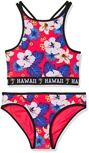 New Look Mädchen Bikinislip 915 Tropical High Neck Floral Bikini, Red (Red Pattern), 9 Jahre