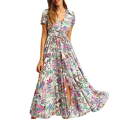 Frauen Sommor Kleid, Jessboy Mode Frauen Druck Bogen Kurzarm Boho Sandy Beach Mini Blumendruck Button Up Split Flowy Party Maxikleid Elegantes Partykleid mit Knopfschlitzen - Pailletten-paisley Rock