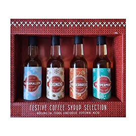 Set of 4 Flavoured Coffee Syrup in Gift Box, Marshmallow, Eggnog, Gingerbread and Peppermint – 4 x 85ml (340ml) – Christmas Gift