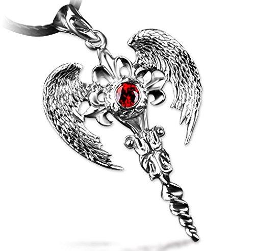 XYLUCKY 925 Silber Schwert Anhänger Halskette Retro-Persönlichkeit Angel (Edelstein-halskette Schwert)