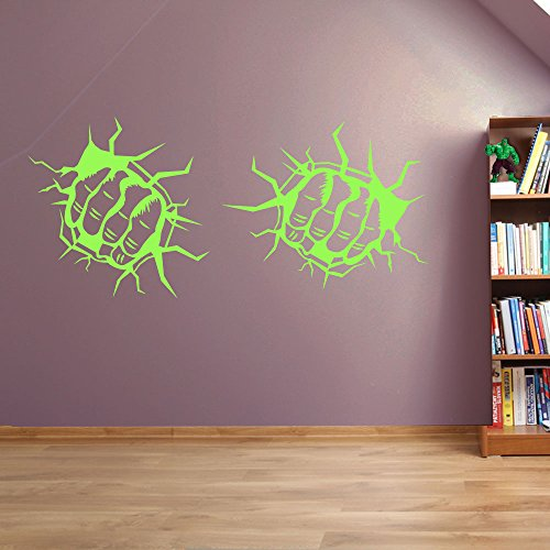 Incredible Hulk Marvel Superhero Kinder Hände Wand Dekorationen Fenster Aufkleber Wall Decor Sticker Wall Art Aufkleber Sticker Wand Aufkleber Aufkleber Wandbild Décor DIY Deco Abnehmbare Wandaufkleber Colorful Aufkleber, Vinyl, 10 - Lime Green, Small Set 25cm (W) each Hand