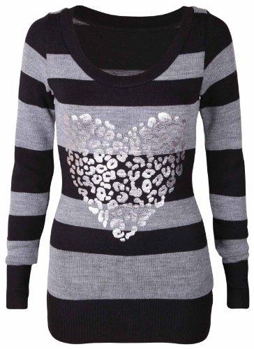 femmes Bloque imprimé rayures Pull col rond NOUVEAU pour femmes tricoté Haut manches longues Gris