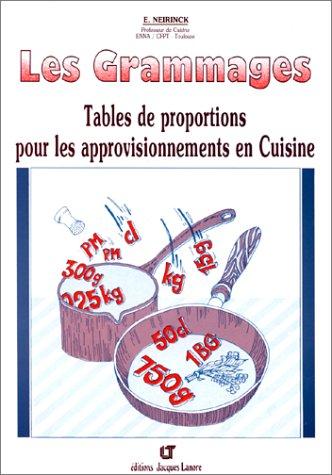 Les grammages. Tables de proportions pour les approvisionnements en cuisine