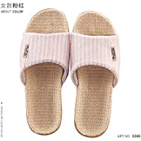 fankou Cotton and Linen Slippers Summer Men and Women Flax Thick Stay Anti-Slip Couples Home Cool in The Summer of Indoor Slippers,39/40, Pink