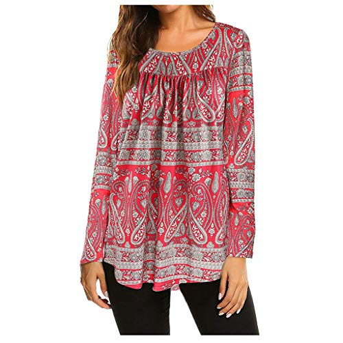Deman outfit-Artistic9 Damen Boho Langarm Scoop Neck Tunika Tops Tribal Aztec Flowing Shirts Plissee Loose Fit Bluse Lady Herbst Casual Active Tee (Aztec Indischen Kostüm)