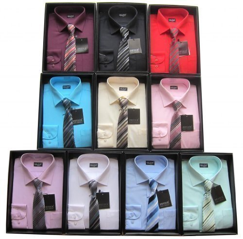Shirt And Tie Set Boys Formal/Smart Shirt Long Sleeved By Device Ideal For Weddings Ages 6M-15Years (13-14 Years, Black)