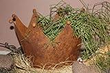 Edelrost Deko Krone, rostiger Metall Übertopf mit Bodenplatte, Blumentopf