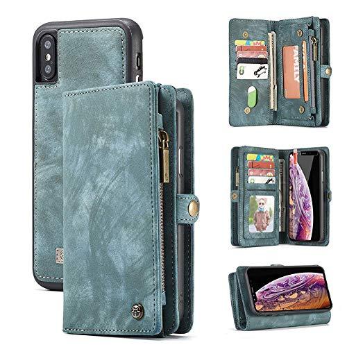 BJZP iPhone X,Samsung Note 9 Hülle, 2in1 Herausnehmbare Handytasche Geldbörse Style Leder Schutzhülle mit Magnetverschluss,Blue,Samsungnote9 Leder-style-schutzhülle