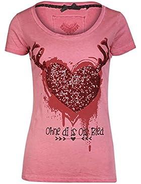 Hangowear Damen T-Shirt Herz Ohne di is Ois Bled Rot, Rot,