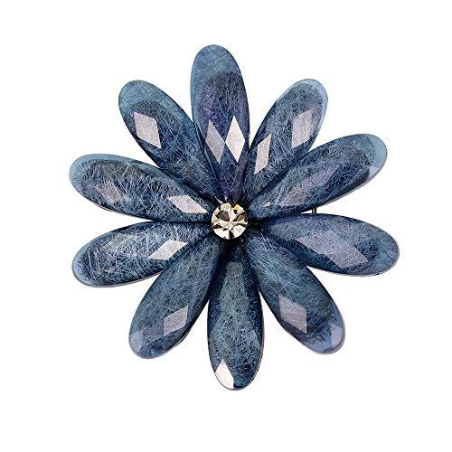 Yazilind Crystal Zirkon Blume Corsage Hochzeit Braut Brosche Kleid Schals Schal Clip Lady Legierung Schmuck Tasche Ornament für Frauen (Navy)