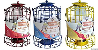 Set of 3 x Kingfisher Squirrel Proof Bird Feeders - Nut, Seed & Fat Ball by Selections