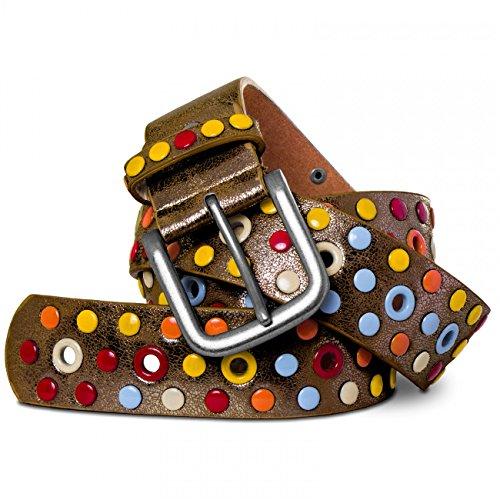 CASPAR Damen Gürtel / Nietengürtel mit bunten Nieten / Lochnieten Teil LEDER - viele Farben - GU269, Länge:85;Farbe:antik gold