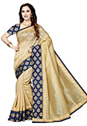 Ishin Art Silk Beige Woven Zari Border Party Wear Wedding Wear Festive Wear New Collection Latest Design Trendy Womens Saree