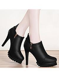 AJUNR-Zapatos De Mujer De Moda Negro 10Cm Bien Con Solo Zapatos La Nueva Moda Mujer Calzado Impermeable Negro Señoras Taiwán Calzados Femeninos 38 Negro