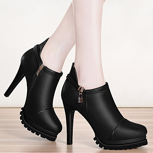 e Schuhe Schwarz 10 cm Fein mit einzelnen Schuhe Die neue Mode Frau Schuhe Damen schwarz Wasserdicht Taiwan weibliche Schuhe schwarz 38 (Clark Schuhe Weiblich)