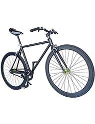 """Wizard Industry Helliot Soho 5303 - Bicicleta fixie, cuadro de acero, frenos V-Brake, horquilla acero y ruedas de 26"""", color negro y naranja"""