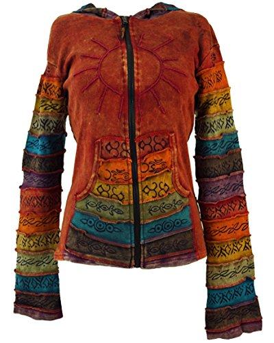 Guru-Shop Patchwork Jacke mit Zipfelkapuze 3, Damen, Rot, Baumwolle, Size:S/M (36), Boho Jacken, Westen Alternative Bekleidung