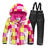 DULEE Jungen und Mädchen Winter Wasserdichte Thermische Snowboard Anzug Ski Jacke Schneeanzug für 120 cm Höhe Kind, Anzug 4