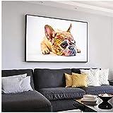 Póster de bulldog francés para pared con diseño realista de perros y mascotas, lienzo artístico de gaviotas, galletas, arte artístico, decoración de pared para el hogar, 50 x 70 cm, sin marco