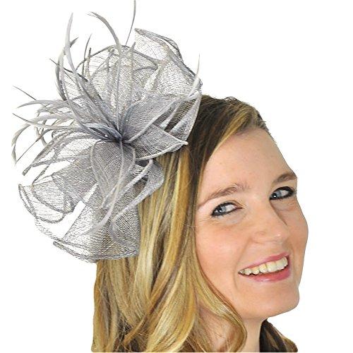 Ladies Grey Sinamay & Feather Plume Headband Fascinator by Chelsea Jones