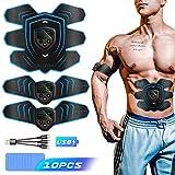 Byroras Electroestimulador Muscular Abdominales,EMS Estimulador Muscular,USB Recargable ABS Trainer para Abdomen/Brazo/Piernas/Cintura con 10PCS Reemplazo Gel Pad (Hombres/Mujeres)