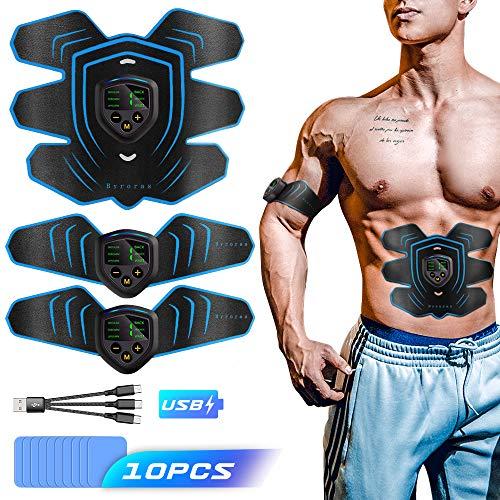 Byroras Estimulador Muscular, Electroestimulador Muscular Abdominales USB Recargable ABS...
