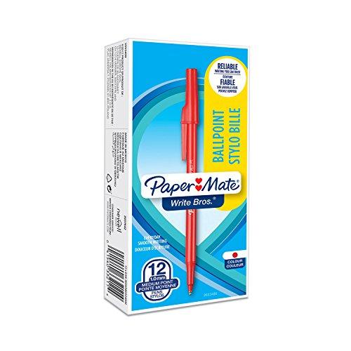 Paper Mate 2033400 Ball Stift, Write Bros- Kugelschreiber, mittlere Schreibspitze, 12er-Box rot - Rot Mate Paper