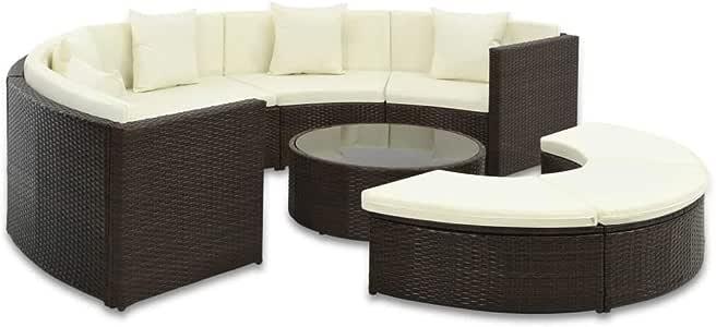 tidyard Rattan Gartenmöbel Set, halbrund, 25 teilig, Sofa