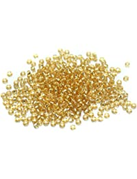 Beadsnfashion Seed Beads Silver Line Golden, Size 11/0, Pack Of 100 Gm.
