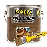 Bondex 2,5 Liter Express Garten Holz Lasur Teak + Xyladecor Pinsel weitere Farbtöne wählbar