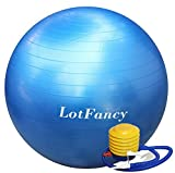 LotFancy Anti-Burst Fitness Stability Ball, 3 Sizes Available: 22, 26, 30 inch - For Exercise, Physical Therapy, Stretching, Balance, Yoga, Pilates, and More, Includes Foot Pump (26inch Blue),