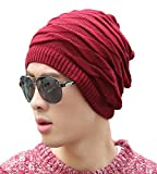 #8: iSweven 1056 Red imported Fancy beautifully woven expandable very soft beanie cap hat for Men Women Girls
