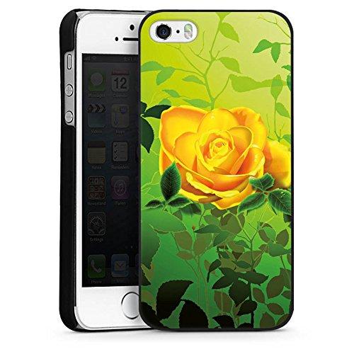 Apple iPhone 5s Housse Étui Protection Coque Jaune Rose Fleur CasDur noir